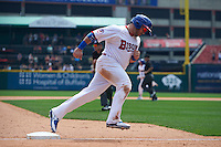 Buffalo Bisons Caleb Gindl (15) runs the bases after a Matt Hague (not shown) home run during a game against the Columbus Clippers on July 19, 2015 at Coca-Cola Field in Buffalo, New York.  Buffalo defeated Columbus 4-3 in twelve innings.  (Mike Janes/Four Seam Images)