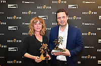 Picture by Simon Wilkinson/SWpix.com 01/122019 -  Rose d'Or 2019 Award Ceremony, red carpet arrivals and winners. Kings Place, London<br /> - Sanne Wohlenberg and executive producer Chris Fry of Chernobyl