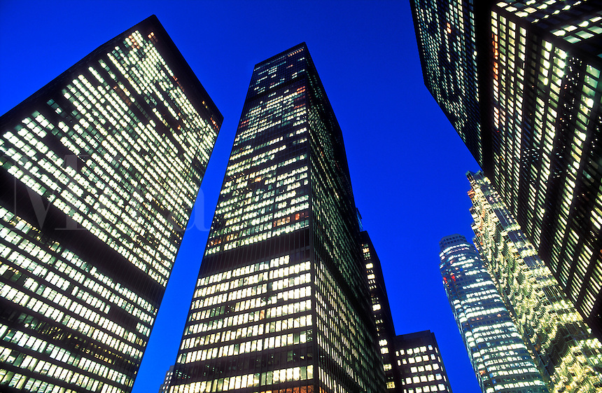Canada, Ontario, Toronto. office towers in the financial district illuminated at night