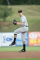 West Virginia Power starting pitcher Logan Sendelbach (28) in action against the Kannapolis Intimidators at Kannapolis Intimidators Stadium on August 21, 2016 in Kannapolis, North Carolina.  The game was suspended due to wet grounds with the score tied 1-1.  (Brian Westerholt/Four Seam Images)