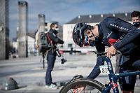 Richard Carapaz (ECU/INEOS Grenadiers) checking his ride at the race start in LIège<br /> <br /> 107th Liège-Bastogne-Liège 2021 (1.UWT)<br /> 1 day race from Liège to Liège (259km)<br /> <br /> ©kramon