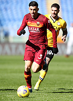 Football, Serie A: AS Roma -  Udinese, Olympic stadium, Rome, February 14, 2021. <br /> Roma's Roger Ibanez (l) in action with Udinese's captain Rodrigo De Paul (r) during the Italian Serie A football match between Roma and Udinese at Rome's Olympic stadium, on February 14, 2021.  <br /> UPDATE IMAGES PRESS/Isabella Bonotto