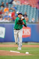 Norfolk Tides shortstop Engelb Vielma (7) throws to first base during an International League game against the Buffalo Bisons on June 22, 2019 at Sahlen Field in Buffalo, New York.  Buffalo defeated Norfolk 3-0.  (Mike Janes/Four Seam Images)