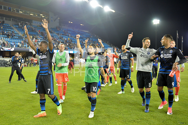San Jose, CA - Monday July 10, 2017: Cordell Cato, Cordell Cato, Andres Imperiale, Danny Hoesen after a U.S. Open Cup quarterfinal match between the San Jose Earthquakes and the Los Angeles Galaxy at Avaya Stadium.