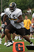 Marcus Gilbert, Pittsburgh Steelers offensive tackle. Training camp, August 11, 2011 at Latrobe, Pennsylvania.