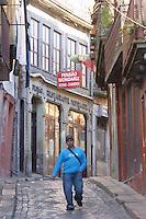narrow cobble stone street porto portugal