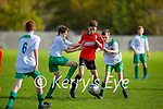 Tussle for possession between Park FC's Cayden Roche and Shane O'Loughlin and Darragh Cahill of Castleisland in the Schoolboys soccer U14 Div 1 league