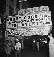 View of the Apollo Theatre marquee, New York City, N.Y., between 1946 and 1948.<br /> <br /> Photo by William Gottlieb.<br /> <br /> columnist William Gottlieb who was best known for his portraits and candid shots of Jazz musicians in the 1940s