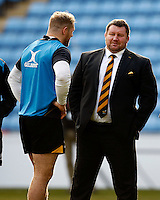 Photo: Richard Lane/Richard Lane Photography. Wasps Open Training Session at the Ricoh Arena ahead of their first game at the stadium. 16/12/2014. Dai Young talks to James Haskell.