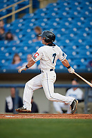 Lake County Captains second baseman Tyler Friis (7) follows through on a swing during the first game of a doubleheader against the South Bend Cubs on May 16, 2018 at Classic Park in Eastlake, Ohio.  South Bend defeated Lake County 6-4 in twelve innings.  (Mike Janes/Four Seam Images)