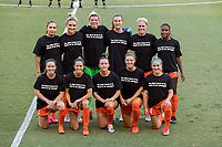 HOUSTON, TX - OCTOBER 04: The Houston Dash starting lineup poses for a photo before a game between North Carolina Courage and Houston Dash at BBVA Stadium on October 04, 2020 in Houston, Texas.
