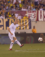 USA midfielder Michael Bradley (4) passes the ball. Brazil  defeated the US men's national team, 2-0, in a friendly at Meadowlands Stadium on August 10, 2010.