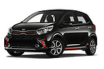 Stock pictures of low aggressive front three quarter view of a 2019 KIA Picanto GT Line 5 Door Hatchback