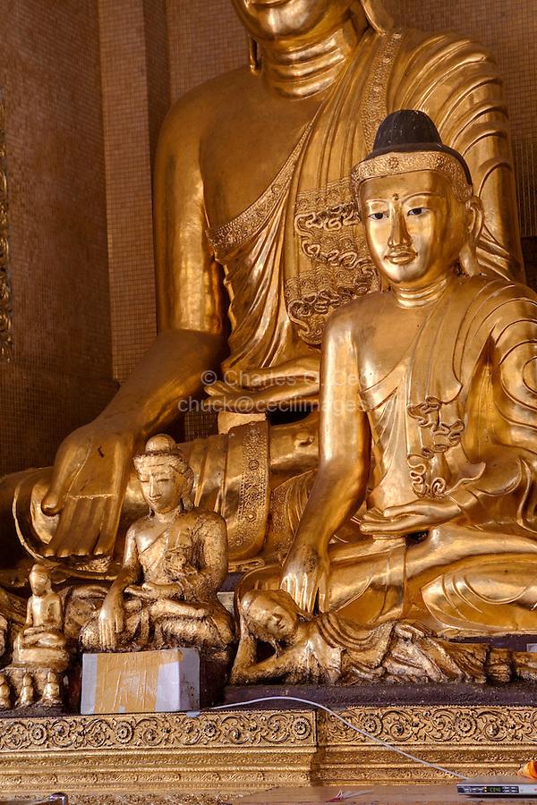 Myanmar, Burma.  Shwedagon Pagoda, Yangon, Rangoon.  Buddha Shrine.
