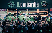 Rigoberto Uran (COL/Cannondale-Drapac) and his teammates at sign-on<br /> <br /> Il Lombardia 2017<br /> Bergamo to Como (ITA) 247km