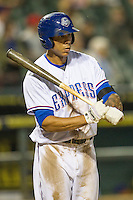 Round Rock Express first baseman Kyle Blanks (35) at bat during Pacific Coast League game against the Memphis Redbirds on April 21, 2015 at the Dell Diamond in Round Rock, Texas. Round Rock defeated Memphis 2-1. (Andrew Woolley/Four Seam Images)
