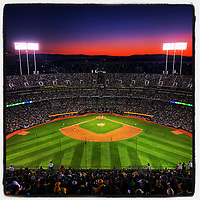 OAKLAND, CA - OCTOBER 2: iPhone Instagram of the sun setting from the top of the centerfield upper deck during the American League Wild Card playoff game between the Tampa Bay Rays and Oakland Athletics at the Oakland Coliseum on October 2, 2019 in Oakland, California. (Photo by Brad Mangin)