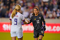 HOUSTON, TX - JANUARY 31: Lindsey Horan #9 of the United States and GK Sasha Fabrega #12 of Panama congratulate shake hands after the match during a game between Panama and USWNT at BBVA Stadium on January 31, 2020 in Houston, Texas.