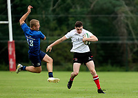 Saturday 4th September 20218 <br /> <br /> Ethan Graham feeds off Charlie Sheridan during U18 Clubs inter-pro between Ulster Rugby and Leinster at Newforge Country Club, Belfast, Northern Ireland. Photo by John Dickson/Dicksondigital