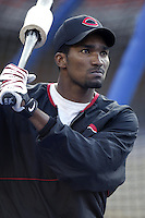 Juan Encarnacion of the Cincinnati Reds before a 2002 MLB season game against the Los Angeles Dodgers at Dodger Stadium, in Los Angeles, California. (Larry Goren/Four Seam Images)