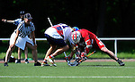 BERLIN, GERMANY - JUNE 21: Round Robin match of USA Starz (white) vs Swiss National Team (red) during the Berlin Open Lacrosse Tournament 2013 at Stadion Lichterfelde on June 21, 2013 in Berlin, Germany. Final score 3-6. (Photo by Dirk Markgraf/www.265-images.com)