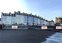 Pictured: View of Marine Terrace and sea wall from<br /> beach, includes height measurements of sea<br /> wall..<br /> Re: A man who killed a hotel guest after setting fire to his hotel, by lighting curtains and a linen cupboard, is due to be sentenced by Swansea Crown Court.<br /> 31 year old Damion Harris, of Llanbadarn Fawr, west Wales, admitted the manslaughter of Juozas Tunaitis, arson and inflicting grievous bodily harm.<br /> Belgrave House Hotel (Ty Belgrave Hotel) in Aberystwyth, Ceredigion was burned down in July 2018