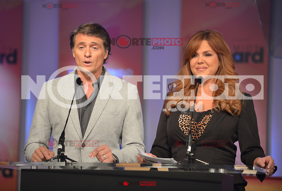 MIAMI, FL - FEBRUARY 05: Juan Soler and Maria Celeste at the Telemundo and Premios Billboard 2013 Press Conference at Gibson Miami Showroom on February 5, 2013 in Miami, Florida. © MPI10/MediaPunch Inc /NortePhoto