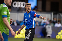 SAN JOSE, CA - MAY 12: Chris Wondolowski #8 of the San Jose Earthquakes directs his teammates during a game between San Jose Earthquakes and Seattle Sounders FC at PayPal Park on May 12, 2021 in San Jose, California.