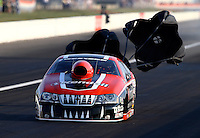 Aug. 30, 2013; Clermont, IN, USA: NHRA pro stock driver V. Gaines during qualifying for the US Nationals at Lucas Oil Raceway. Mandatory Credit: Mark J. Rebilas-
