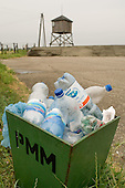 Water bottles discarded by tourists at Majdanek concentration camp on the outskirts of Lublin.