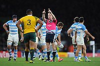 Referee Wayne Barnes of England signals during the Semi Final of the Rugby World Cup 2015 between Argentina and Australia - 25/10/2015 - Twickenham Stadium, London<br /> Mandatory Credit: Rob Munro/Stewart Communications