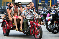 "- gathering of ""bikers"" motorcyclists, Motoguzzi tricycle ....- raduno di motociclisti ""bikers"", ticiclo Motoguzzi"