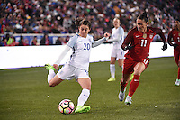 Harrison, NJ - Saturday, March 04, 2017: Karen Carney, Ali Krieger during a SheBelieves Cup match between the women's national teams of the United States (USA) and England (ENG) at Red Bull Arena.