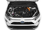 Car Stock 2021 Toyota RAV4-Hybride-Rechargeable Premium-Plus 5 Door SUV Engine  high angle detail view