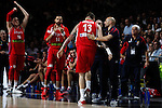 Serbia´s Raduljica and coach Sasha Djordjevic during FIBA Basketball World Cup Spain 2014 final match between United States and Serbia at `Palacio de los deportes´ stadium in Madrid, Spain. September 14, 2014. (ALTERPHOTOSVictor Blanco)