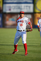 Harrisburg Senators left fielder Mario Lisson (18) during warmups before a game against the Bowie Baysox on May 16, 2017 at FNB Field in Harrisburg, Pennsylvania.  Bowie defeated Harrisburg 6-4.  (Mike Janes/Four Seam Images)