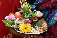 offerings carried out by women, linked to fertility goddess aspects of Durga and her nine incarnations, worshipped in  Dashain festival time in Newar city Bhaktapur in Kathmandu valley, Nepal, October 2011. The first day of dashain, barley seeds are sewn, growing  quickly to be carried at the end of the festival  to the temple as part of the offerings.Offerings on the plate also contain  other symbols of fertility, like egg, fruits, flowers, herbs.