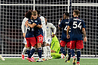 FOXBOROUGH, MA - SEPTEMBER 5: Ryan Spaulding #34 of New England Revolution II celebrates his goal with teammates during a game between Tormenta FC and New England Revolution II at Gillette Stadium on September 5, 2021 in Foxborough, Massachusetts.