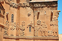 Bas Releif sculptures with scenes from the Bible on the outside of the 10th century Armenian Orthodox Cathedral of the Holy Cross on Akdamar Island, Lake Van Turkey 16b