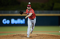 Jacksonville Jumbo Shrimp relief pitcher Jake Fishman (17) in action against the Durham Bulls at Durham Bulls Athletic Park on May 15, 2021 in Durham, North Carolina. (Brian Westerholt/Four Seam Images)