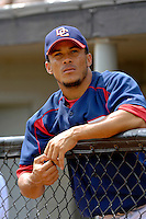 14 March 2006: Bernie Castro, infielder for the Washington Nationals, looks out from the dugout prior to the start of a Spring Training game against the Florida Marlins. The Marlins defeated the Nationals 2-1 at Space Coast Stadium, in Viera, Florida...Mandatory Photo Credit: Ed Wolfstein..