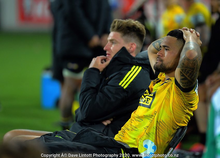 Hurricanes players Jordie Barrett and Vaea Fifita sit out yellow cards during the Super Rugby match between the Hurricanes and Blues at Sky Stadium in Wellington, New Zealand on Saturday, 7 March 2020. Photo: Dave Lintott / lintottphoto.co.nz