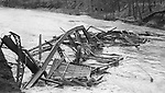 wrecked bridge in Waterbury during the flood of 1924.