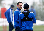 St Johnstone Training...   21.01.21<br />Callum Booth pictured with Chris Kane during training at McDiarmid Park ahead of Saturday's BetFred Cup semi-final against Hibs at Hampden.<br />Picture by Graeme Hart.<br />Copyright Perthshire Picture Agency<br />Tel: 01738 623350  Mobile: 07990 594431