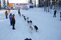Sunday February 27, 2010   Jonathan Biggerstaff/Myers leaves the start line of the Junior Iditarod at Willow Lake , Alaska