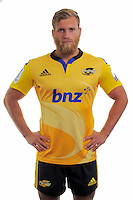 Brad Shields. Hurricanes Super Rugby official headshots at Rugby League Park, Wellington, New Zealand on Tuesday, 13 January 2015. Photo: Dave Lintott / lintottphoto.co.nz