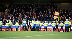 Motherwell v St Johnstone….07.05.16  Fir Park, Motherwell<br />Police and stewards line the touchline to stop fans invading the pitch<br />Picture by Graeme Hart.<br />Copyright Perthshire Picture Agency<br />Tel: 01738 623350  Mobile: 07990 594431