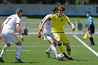 Adam Hillis of the Wellington Phoenix  competes for the ball with Robert Sabo of Eastern Suburbs during the ISPS Handa Men's Premiership - Wellington Phoenix v Eastern Suburbs at Fraser Park, Wellington on Saturday 28 November 2020.<br /> Copyright photo: Masanori Udagawa /  www.photosport.nz