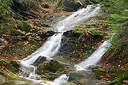Blue Ravine Cascades, located along a tributary of the Wild Ammonoosuc River on the side of Mt. Blue in Kinsman Notch of the White Mountains, New Hampshire USA during the autumn months