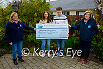 Adrian Murphy and Shannon Foley who walked 100k steps on St Patrick's Day and raised € 2,133 for Recovery Haven, presented the cheque on Monday at the Recovery Haven centre in Tralee.L to r: Kathleen Collins, Shannon Foley, Adrian Murphy and Maureen O'Brien.